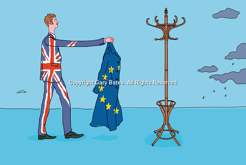 Man wearing union jack suit and hanging up European Union overcoat