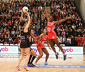 10th September 2017, PG Arena, Napier, New Zealand; Taini Jamison Netball Trophy, New Zealand versus England;  Englands Ama Agbeze jumps to black a shot by New Zealands Bailey Mes