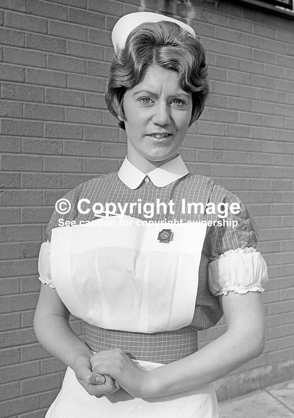 Prizewinning nurse at prizegiving at Musgrave Park Hospital, Belfast, N Ireland - Edith Power, Antrim, N Ireland. February 1970. 197002230064c<br /> <br /> Copyright Image from Victor Patterson, 54 Dorchester Park, Belfast, UK, BT9 6RJ<br /> <br /> Tel: +44 28 9066 1296<br /> Mob: +44 7802 353836<br /> Voicemail +44 20 8816 7153<br /> Email: victorpatterson@me.com<br /> Email: victorpatterson@gmail.com<br /> <br /> IMPORTANT: My Terms and Conditions of Business are at www.victorpatterson.com