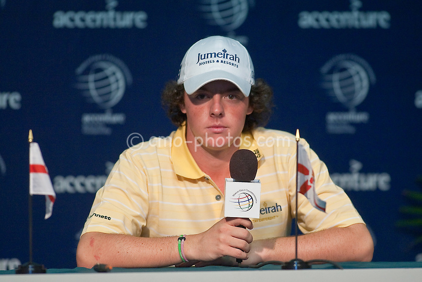 Feb 23, 2009; Marana, AZ, USA; 19-year-old sensation Rory McIlroy (XNI) talks to the media after a Monday practice round prior to the World Golf Championships-Accenture Match Play Championship at the Ritz-Carlton Golf Club, Dove Mountain.