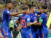 KAZAN - RUSIA, 24-06-2018: Radamel FALCAO (Der) jugador de Colombia celebra con Wilmar BARRIOS, Juan QUINTERO y James RODRIGUEZ después de anotar un gol a Polonia durante partido de la primera fase, Grupo H, por la Copa Mundial de la FIFA Rusia 2018 jugado en el estadio Kazan Arena en Kazán, Rusia. /  Radamel FALCAO (R) player of Colombia celebrates with his teammates Wilmar BARRIOS, Juan QUINTERO and James RODRIGUEZ after scoring a goal to Polonia during match of the first phase, Group H, for the FIFA World Cup Russia 2018 played at Kazan Arena stadium in Kazan, Russia. Photo: VizzorImage / Julian Medina / Cont