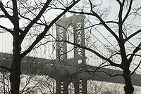 AVAILABLE FROM JEFF AS A FINE ART PRINT.<br /> <br /> AVAILABLE FROM PLAINPICTURE FOR COMMERCIAL AND EDITORIAL LICENSING.  Please go to www.plainpicture.com and search for image # p5690073.<br /> <br /> Manhattan Bridge Seen Thru Bare Trees in Lower Manhattan, New York City, New York State, USA