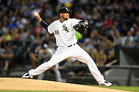 Chicago White Sox pitcher Hector Noesi (48) delivers a pitch during a game against the Toronto Blue Jays on August 15, 2014 at U.S. Cellular Field in Chicago, Illinois.  Chicago defeated Toronto 11-5.  (Mike Janes/Four Seam Images)