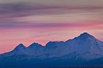 Close up of Mount Iliamna at dusk, Aleutian Range, Southcentral Alaska, Summer.