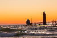 64795-01110 Grand Haven South Pier Lighthouse at sunset on Lake Michigan, Ottawa County, Grand Haven, MI
