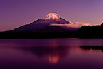 Photo shows Mt Fuji viewed from Lake Shoji in Fujikawaguchiko Town City, Yamanashi Prefecture Japan.  Photographer: Robert Gilhooly
