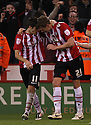 Chris Porter of Sheffield United (r) celebrates scoring the winning goal. Sheffield United  v Stevenage - npower League 1 Play-off semi-final 2nd leg - Bramall Lane, Sheffield  - 14th May, 2012. © Kevin Coleman 2012
