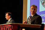 Old Westbury, New York, U.S. 8th October 2013. R-L, Republican EDWARD MANGANO, the Nassau County Executive, and Democrat THOMAS SUOZZI, the former Nassau County Executive, face each other in a debate hosted by the Nassau County Village Officials Association, representing 64 incorporated villages with 450,000 residents, as the opponents face a rematch in the 2013 November elections.