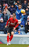 16.03.2019 Rangers v Kilmarnock: Connor Goldson clears from Conor McAleny