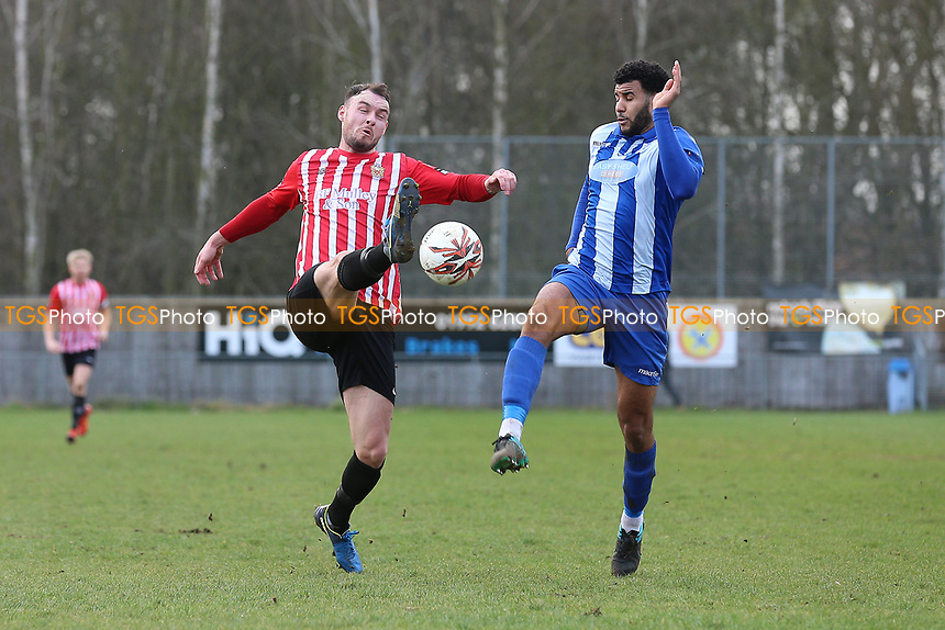 Martin Tuohy of Hornchurch and Anthony Furlonge of Ware during Ware vs AFC Hornchurch, Ryman League Division 1 North Football at Wodson Park on 11th March 2017