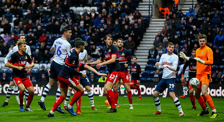 Preston North End's Andrew Hughes scores his side's equalising goal to make the score 1-1<br /> <br /> Photographer Alex Dodd/CameraSport<br /> <br /> The Emirates FA Cup Third Round - Preston North End v Doncaster Rovers - Sunday 6th January 2019 - Deepdale Stadium - Preston<br />  <br /> World Copyright &copy; 2019 CameraSport. All rights reserved. 43 Linden Ave. Countesthorpe. Leicester. England. LE8 5PG - Tel: +44 (0) 116 277 4147 - admin@camerasport.com - www.camerasport.com