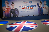 21st March 2018, Arena Birmingham, Birmingham, England; Gymnastics World Cup, day one, mens competition; General view of the main stage with Union Jacks and 2018 Gymnastics World Cup sign
