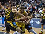 16.03.2019, EWE Arena, Oldenburg, GER, easy Credit-BBL, EWE Baskets Oldenburg vs MHP Riesen Ludwigsburg, im Bild<br /> der Kampf um dern Ball ... Marko BACAK (EWE Baskets Oldenburg #13 ) Christian von FINTEL (MHP Riesen Ludwigsburg #27 ) Piet NIEHUS (EWE Baskets Oldenburg #2 )<br /> <br /> Foto © nordphoto / Rojahn