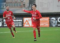FC GULLEGEM - FC RUPEL BOOM :<br /> Nagim Amini juicht bij zijn tweede goal van de namiddag, die Gullegem op voorsprong brengt (3-2)<br /> <br /> Foto VDB / Bart Vandenbroucke