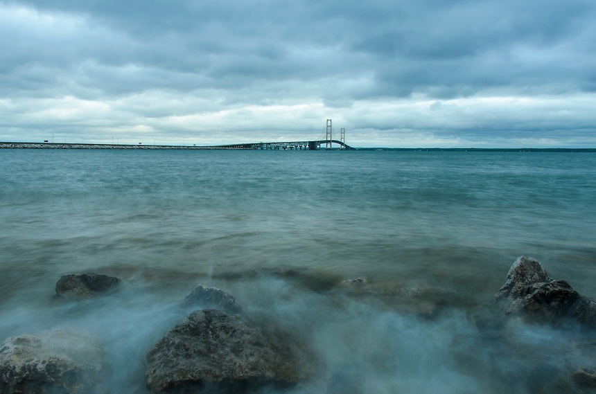 A cloudy evening at the Mackinac Bridge but always a beautiful view at the Straits. St. Ignace, MI