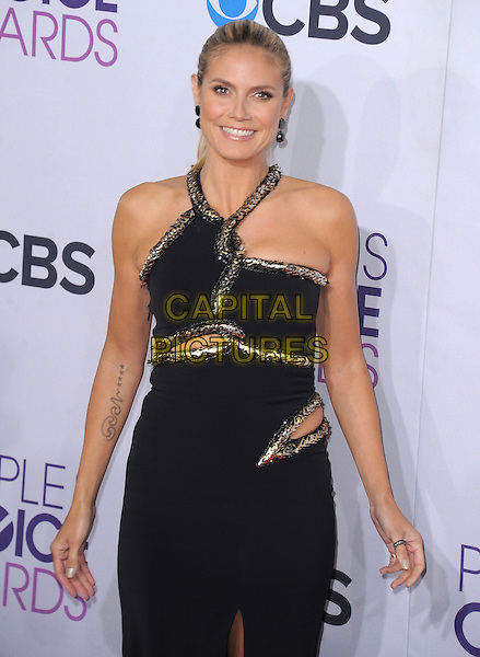 Heidi Klum.The 2013 People's Choice Awards held at Nokia Live in Los Angeles, California 9th January 2013                                                                   .half length dress black silver gold trim cut out away tattoo.CAP/DVS.©DVS/Capital Pictures.