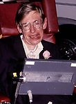 Stephen Hawking attending the Premiere of 'A Brief History of Time' on August 14, 1992 at Los Angeles Samuel Goldwyn Theater in Beverly Hills, California.