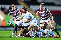 Maxime Machenaud of Racing 92 passes the ball. European Rugby Champions Cup match, between Leicester Tigers and Racing 92 on October 23, 2016 at Welford Road in Leicester, England. Photo by: Patrick Khachfe / JMP