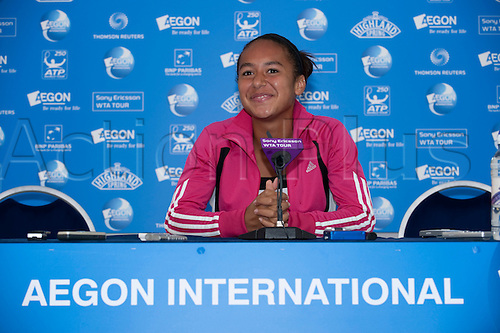 14.06.10 Aegon International Eastbourne, UK,  Heather Watson of GBR Press Conference after playing Bojanan Jovanovski of SRB, Heather Won in 3 sets.