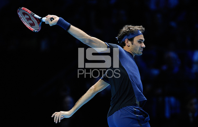 Roger Federer (SUI) in action against Tomas Berdych (CZE) during Day One of the Barclays ATP World Tour Finals 2015 played at The O2, London on November 15th 2015