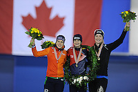 SPEED SKATING: CALGARY: Olympic Oval, 08-03-2015, ISU World Championships Allround, Final Podium Ladies, Ireen Wüst (NED), Martina Sábliková (CZE), Ida Njåtun (NOR),  ©foto Martin de Jong