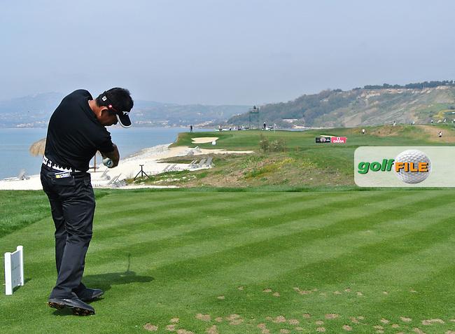 Tetsuji Hiratsuka (JPN) on the 8th on Day 2 of the 2012 Sicilian Open at Verdura Golf and Spa Resort, Sicily, Italy....(Photo Jenny Matthews/www.golffile.ie)