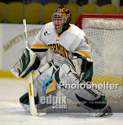 "5 January 2007: University of Vermont goaltender Mike Spillane (31) from Bow, NH, warms up prior to a Hockey East matchup against the University of New Hampshire Wildcats at Gutterson Fieldhouse in Burlington, Vermont. The UNH Wildcats defeated the UVM Catamounts 7-1 in front of a record setting 48th consecutive sellout at ""the Gut""...Mandatory Photo Credit: Ed Wolfstein Photo.<br />"