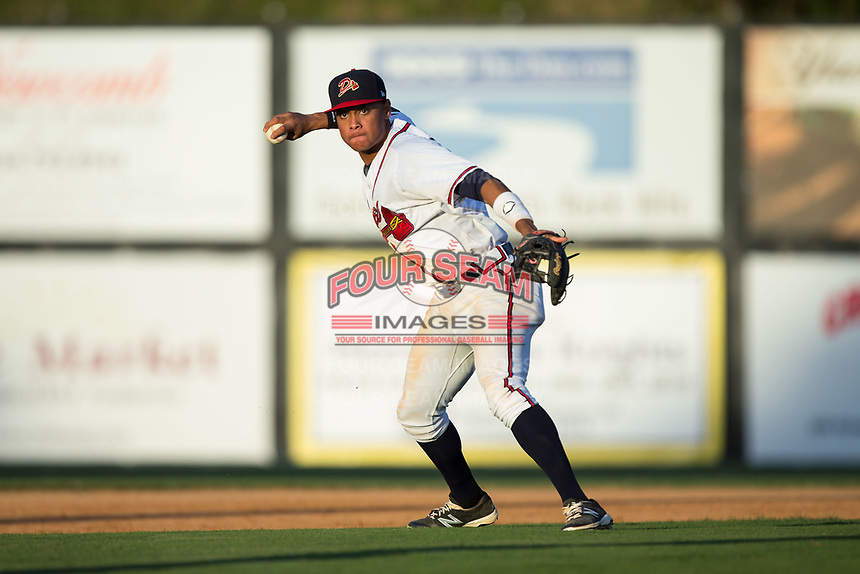 Danville Braves shortstop Derian Cruz (7) makes a throw to third base against the Princeton Rays at American Legion Post 325 Field on June 25, 2017 in Danville, Virginia.  The Braves walked-off the Rays 7-6 in 11 innings.  (Brian Westerholt/Four Seam Images)