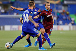 Raul Garcia of Getafe CF and Abdulkadir Parmak of Trabzonspor during UEFA Europa League match between Getafe CF and Trabzonspor at Coliseum Alfonso Perez in Getafe, Spain. September 19, 2019. (ALTERPHOTOS/A. Perez Meca)