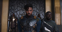 Black Panther (2018)<br /> Erik Killmonger (Michael B. Jordan) and W'Kabi (Daniel Kaluuya).<br /> *Filmstill - Editorial Use Only*<br /> CAP/KFS<br /> Image supplied by Capital Pictures