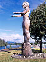 Port Alberni, Vancouver Island, BC, British Columbia, Canada - Nuu-Chah-Nulth Welcome Figure Totem Pole