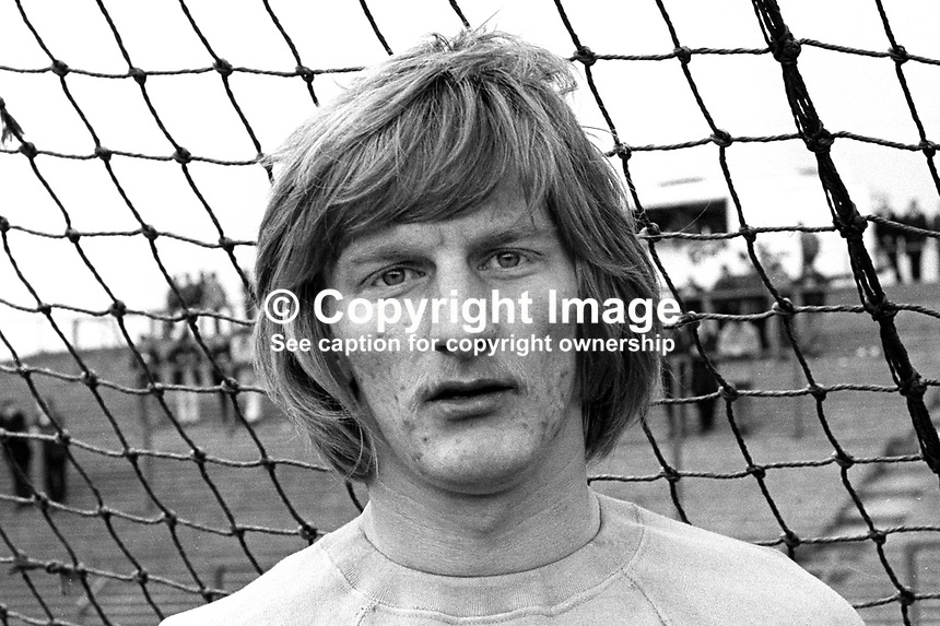 Roy McDonald, footballer, Distillery FC, Belfast, N Ireland, June, 1971, 197106000240<br /> <br /> Copyright Image from Victor Patterson, 54 Dorchester Park, Belfast, UK, BT9 6RJ<br /> <br /> t1: +44 28 9066 1296<br /> t2: +44 28 9002 2446<br /> m: +44 7802 353836<br /> e: victorpatterson@me.com<br /> <br /> www.victorpatterson.com<br /> <br /> IMPORTANT: Please see my Terms and Conditions of Use at www.victorpatterson.com