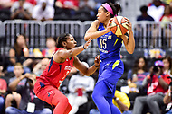 Washington, DC - August 12, 2018: Washington Mystics guard Ariel Atkins (7) plays defense against Dallas Wings guard Allisha Gray (15) during game between the Washington Mystics and the Dallas Wings at the Capital One Arena in Washington, DC. (Photo by Phil Peters/Media Images International)
