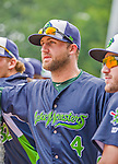 9 July 2015: Vermont Lake Monsters infielder Ryan Howell looks out from the dugout prior to a game against the Mahoning Valley Scrappers at Centennial Field in Burlington, Vermont. The Lake Monsters rallied to tie the game 4-4 in the bottom of the 9th, but fell to the Scrappers 8-4 in 12 innings of NY Penn League play. Mandatory Credit: Ed Wolfstein Photo *** RAW Image File Available ****