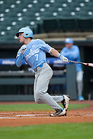 Logan Warmoth (7) of the North Carolina Tar Heels follows through on his swing against the Boston College Eagles in Game Five of the 2017 ACC Baseball Championship at Louisville Slugger Field on May 25, 2017 in Louisville, Kentucky.  The Tar Heels defeated the Eagles 10-0 in a game called after 7 innings by the Mercy Rule. (Brian Westerholt/Four Seam Images)