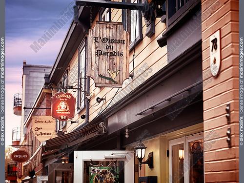 Vintage store signs at the historic street Petit Champlain in old Quebec City, Quebec, Canada. Rue du Petit-Champlain, Ville de Québec.