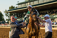 October 07 2018 : Joe Bravo celebrates with trainer Ignacio Correras after winning the Juddmonte Spinster States with Blue Prize at Keeneland Racecourse on October 07, 2018 in Lexington, Kentucky. Evers/ESW/CSM