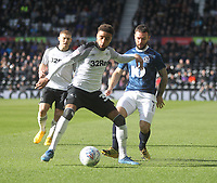 Blackburn Rovers Adam Armstrong in action with Derby County's Jayden Bogle<br /> <br /> Photographer Mick Walker/CameraSport<br /> <br /> The EFL Sky Bet Championship - Derby County v Blackburn Rovers - Sunday 8th March 2020  - Pride Park - Derby<br /> <br /> World Copyright © 2020 CameraSport. All rights reserved. 43 Linden Ave. Countesthorpe. Leicester. England. LE8 5PG - Tel: +44 (0) 116 277 4147 - admin@camerasport.com - www.camerasport.com