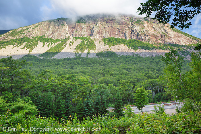 Cannon Cliff on the side of Cannon Mountain in Franconia Notch State Park in the White Mountains, New Hampshire USA during the summer months.