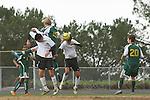 Palos Verdes, CA 02/07/12 - Kyle Perebowow (Peninsula #25) and Tony Bumatay (Peninsula #5) in action during the Mira Costa vs Peninsula Boys Varsity soccer bay league game.