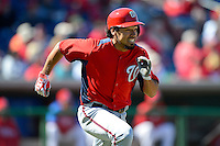 Washington Nationals shortstop Anthony Rendon #6 runs to first after hitting a home run during a Spring Training game against the Philadelphia Phillies at Bright House Field on March 6, 2013 in Clearwater, Florida.  Philadelphia defeated Washington 6-3.  (Mike Janes/Four Seam Images)