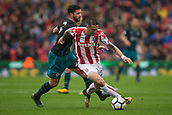 30th September, bet365 Stadium, Stoke-on-Trent, England; EPL Premier League football, Stoke City versus Southampton; Stoke City's Geoff Cameron comes under pressure from Southampton's Shane Long