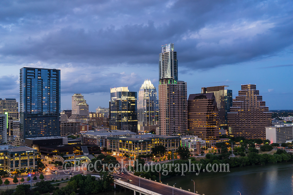 We took the images from early evening around dusk after the lights came on the buildings in downtown Austin.  You can see the usual high-rises like the Frost, W hotel, Austonian, all along the shore line of Lady Bird Lake