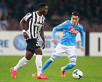 Calcio, Serie A: Napoli vs Juventus. Napoli, stadio San Paolo, 30 marzo 2014. <br /> Juventus midfielder Kwadwo Asamoah, of Ghana, is challenged by Napoli forward Jose' Maria Callejon, of Spain, right, during the Italian Serie A football match between Napoli and Juventus at Naples' San Paolo stadium, 30 March 2014.<br /> UPDATE IMAGES PRESS/Isabella Bonotto