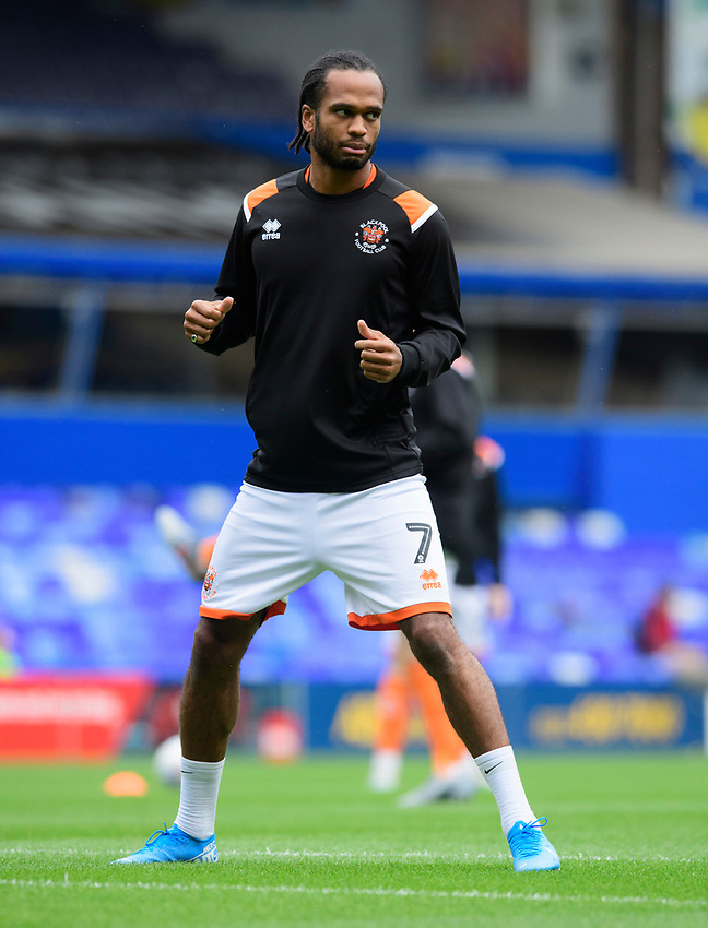 Blackpool's Nathan Delfouneso during the pre-match warm-up<br /> <br /> Photographer Chris Vaughan/CameraSport<br /> <br /> The EFL Sky Bet League One - Coventry City v Blackpool - Saturday 7th September 2019 - St Andrew's - Birmingham<br /> <br /> World Copyright © 2019 CameraSport. All rights reserved. 43 Linden Ave. Countesthorpe. Leicester. England. LE8 5PG - Tel: +44 (0) 116 277 4147 - admin@camerasport.com - www.camerasport.com