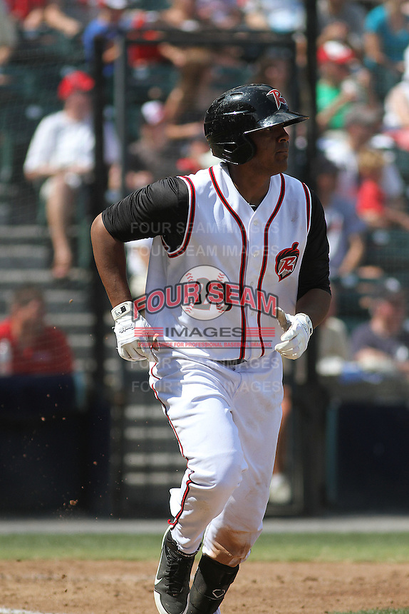 Richmond Flying Squirrels infielder Daniel Mayora #23 at bat during a game against the Trenton Thunder at The Diamond on May 27, 2012 in Richmond, Virginia. Richmond defeated Trenton by the score of 5-2. (Robert Gurganus/Four Seam Images)