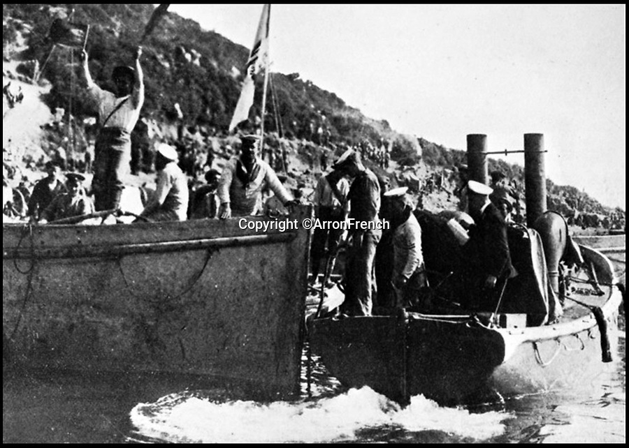 BNPS.co.uk (01202 558833)<br /> Pic: ArronFrench/BNPS<br /> <br /> Caretta (r) in Suvla Bay during the bloody Gallipoli campaign of WW1.<br /> <br /> A couple who spent £3,000 saving an historic 'little' ship that served in and survived three wars are now set to sell it for £160,000.<br /> <br /> Arron and Tina French found the 40ft Caretta in a run-down and rotten state in a marina where it had languished for almost 20 years.<br /> <br /> They bought it for £2,200 and remarkably spent £1,000 and four months restoring it to its former 19th century glory.<br /> <br /> They have now decided to sell it and although it has been given a pre-sale estimate of £60,000, they have been told the historic vessel could go for almost three times that figure.