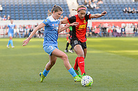 Bridgeview, IL, USA - Saturday, April 23, 2016: Chicago Red Stars defender Arin Gilliland (3) and Western New York Flash forward Lynn Williams (9) during a regular season National Women's Soccer League match between the Chicago Red Stars and the Western New York Flash at Toyota Park. Chicago won 1-0.