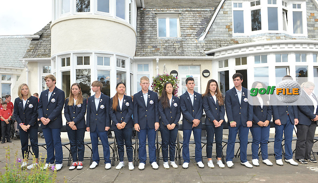 THE USA team stand for their anthem during the Junior Ryder Cup at the Blairgowrie Golf Club on 23rd September 2014.<br /> Picture Richard Martin-Roberts www.golffile.ie