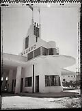 ERITREA, Asmara, Tagliero Fiat gas station (B&W)